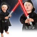 Dork babies: Vader, Superman and Batman Halloween costumes