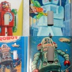 Retro Robot lightswitches for the nursery