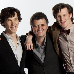 Steven Moffat, Benedict Cumerbatch and Matt Smith