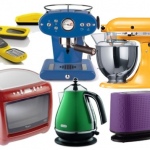 colour blocked kitchen appliances