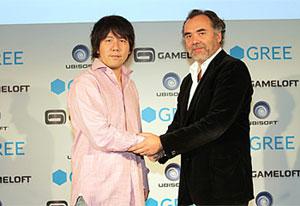 Yoshikazu Tanaka of GREE and Geoffroy Sardin of Ubisoft