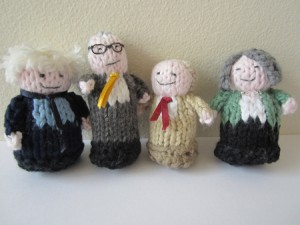 Knitted politicians by Heather Brown
