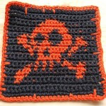 Free! Jolly Roger Skull and Crossbone crochet and knitting pattern