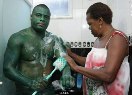 Man Paints Himself Hulk -Green Permanently
