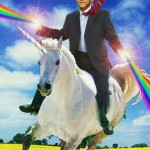 Obama rides a unicorn shooting lasers from his hands