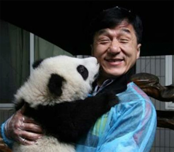 Jackie Chan and a Panda Kiss