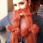 Whiskerina Woman in Red Bow Beard