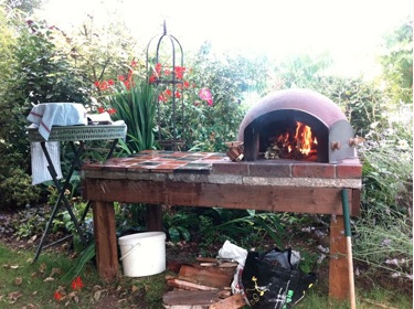 Stone baked pizza oven