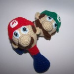 Crochet Mario and Luigi baby rattles
