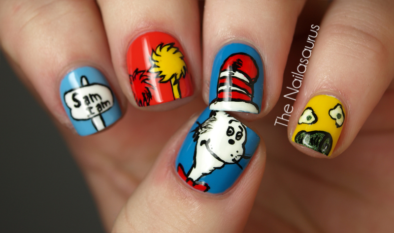 Cat in the Hat nail art