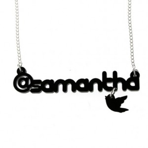 Twitter username necklace from Punky Pins