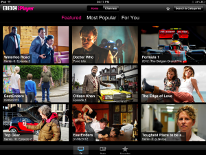 iPad screenshot BBC iplayer
