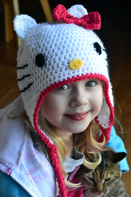 Hello Kitty hat free crochet pattern
