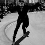 Christophe Waltz on a skateboard