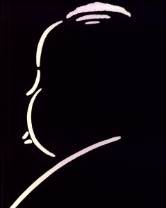 Hitchcock in silhouette.