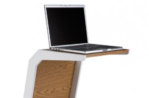 The Quadro Oak and White Laptop Table