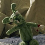 An amigurumi zombie rabbit, pattern by Shawna at Crochetbot3000
