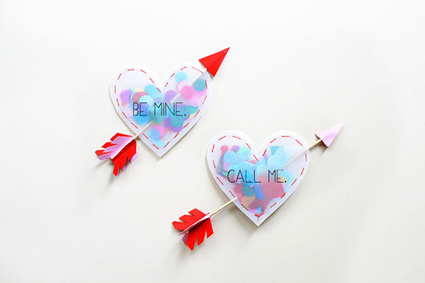 Confetti-filled hearts, from a pattern found on CraftTuts
