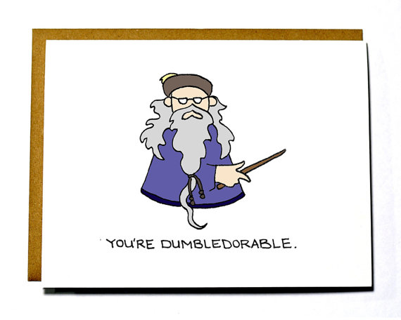 A Dumbledore Valentine's card from Etsy shop Darkroom and Dearly
