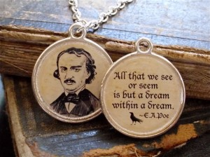 Edgar Allen Poe necklace with The Raven quote from Etsy's The Lycine Contingency