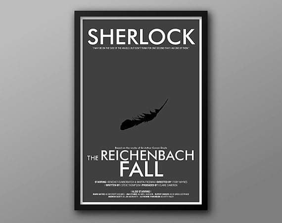 Minimalist The Reichenbach Fall poster by The Geekery on Etsy