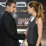 Theo James and Shailene Woodley as Four and Tris in Divergent.
