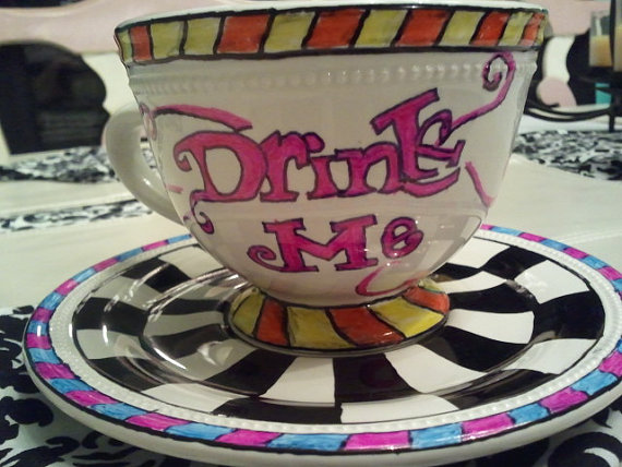 "Tea Party ""Drink Me"" cup and saucer by leahpitisi on Etsy"