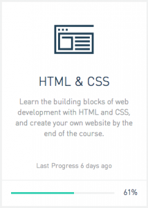 My HTML/CSS progress box on Codecademy