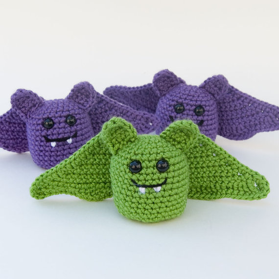 Finished amigurumi bats from pattern by TheItsyBitsySpider on Etsy