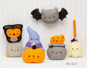 Halloween felties for a Halloween garland - pattern by Noialand on Etsy