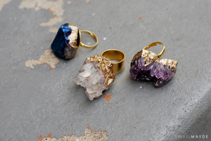 DIY gilded geode ring from tutorial by SwellMayde
