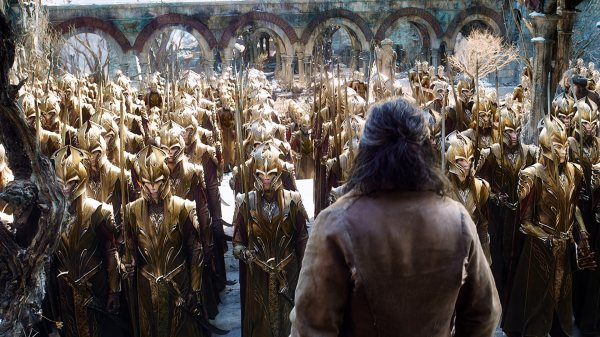 Bard is confronted with an army of Elves.