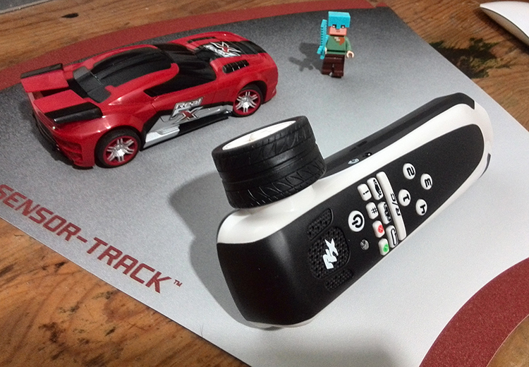 The handset and car on a section of track - LEGO man for scale!